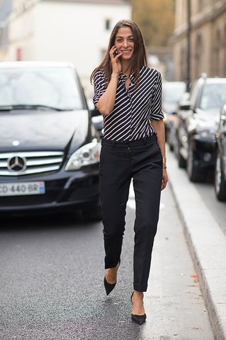 Women's Black and White Vertical Striped Dress Shirt, Black Dress Pants, Black Suede Pumps