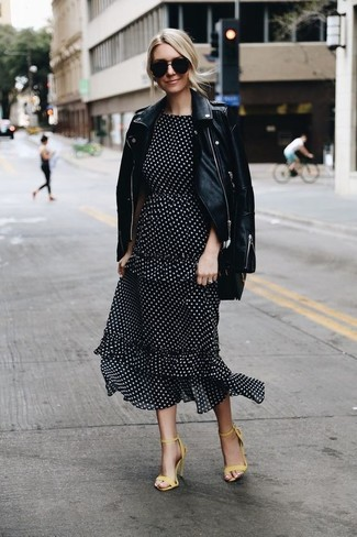 4386c766c621 How to wear: black leather biker jacket, black and white polka dot midi  dress