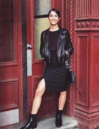 How to wear: black leather biker jacket, black bodycon dress, black leather chelsea boots, black leather crossbody bag