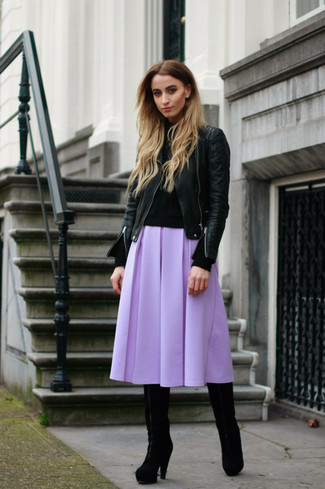 This combination of a black leather motorcycle jacket and a lavender full skirt is super versatile and really up for any sort of adventure you may find yourself on. Go for a pair of black suede knee high boots to instantly up the chic factor of any outfit. When it's one of those gloomy autumn days, what better to brighten it up than a seriously stylish ensemble like this one?