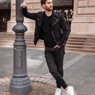 Black Jeans Spring Outfits For Men: When you need to feel confident in your getup, consider pairing a black suede biker jacket with black jeans. When it comes to shoes, this getup pairs wonderfully with white canvas low top sneakers. A great example of transitional style, this ensemble is ideal come warmer days.