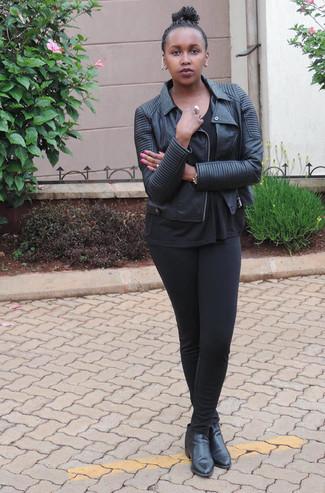 Women's Black Leather Biker Jacket, Black Crew-neck T-shirt, Black Leggings, Black Leather Ankle Boots