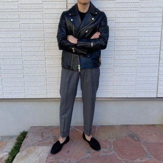 Charcoal Dress Pants Outfits For Men: This combo of a black leather biker jacket and charcoal dress pants is a real lifesaver when you need to look dapper but have zero time. Inject an element of refinement into this getup by rocking black velvet loafers.