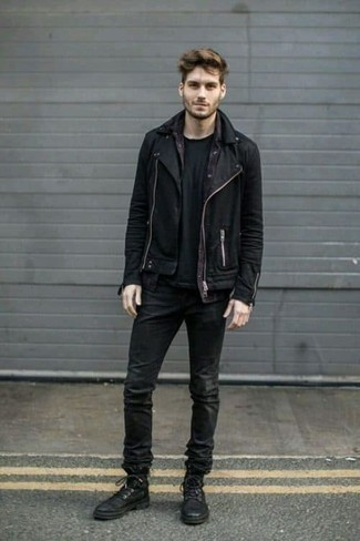 Black Biker Jacket Outfits For Men: For a relaxed casual ensemble, consider pairing a black biker jacket with charcoal jeans — these two pieces play pretty good together. Switch up this getup with a dressier kind of footwear, such as these black leather casual boots.
