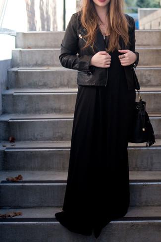 Women's Black Leather Biker Jacket, Black Maxi Dress, Black Suede Bucket Bag, Gold Pendant