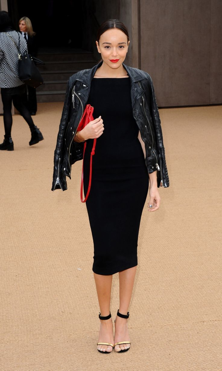 Ashley Madekwe Wearing Black Leather Biker Jacket Black Midi Dress Black And Gold Suede Heeled ...