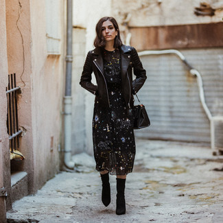 How to wear: black leather biker jacket, black star print midi dress, black elastic ankle boots, black leather tote bag