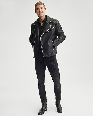 Black Polo Outfits For Men: A black polo and black ripped skinny jeans combined together are a good match. Finishing with a pair of black leather chelsea boots is the simplest way to inject an extra touch of refinement into this ensemble.