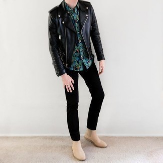 Black Chinos Outfits: A black leather biker jacket and black chinos paired together are a smart match. Hesitant about how to finish your look? Rock a pair of beige suede chelsea boots to class it up.