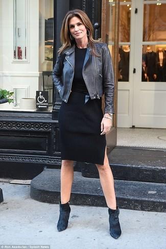 How to wear: black leather biker jacket, black sweater dress, black velvet ankle boots, black leather waist belt