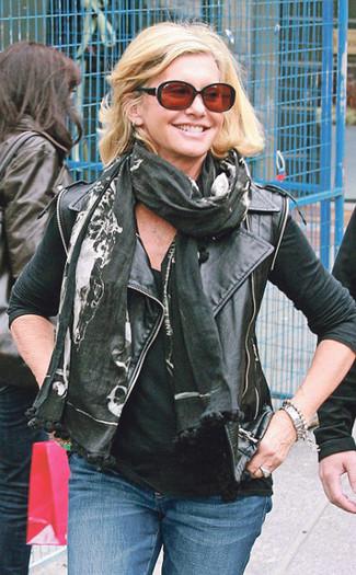 How to wear: black leather biker jacket, black tank, blue jeans, black print scarf