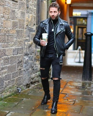 How to wear: black leather biker jacket, black turtleneck, black ripped skinny jeans, black leather chelsea boots