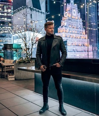 How to Wear Black Suede Chelsea Boots For Men: For casual urban style without the need to sacrifice on practicality, we turn to this pairing of a black leather biker jacket and black skinny jeans. Don't know how to finish your ensemble? Rock black suede chelsea boots to kick up the fashion factor.
