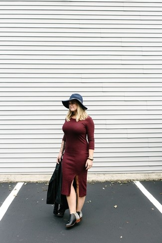 How to wear: black leather biker jacket, burgundy midi dress, black leather ankle boots, navy wool hat