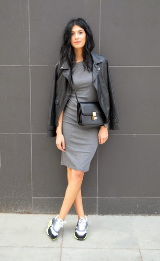 A black leather biker jacket and a grey bodycon dress are great staples that will integrate perfectly within your current looks. Dress down your look with grey running shoes.