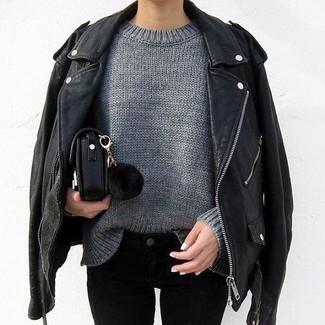 Peplum Leather Biker Jacket