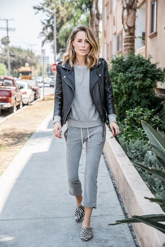 How to Wear Grey Suede Loafers For Women: Why not pair a black leather biker jacket with grey sweatpants? As well as very practical, both of these items look great worn together. To give your overall outfit a sleeker finish, why not complement your outfit with a pair of grey suede loafers?