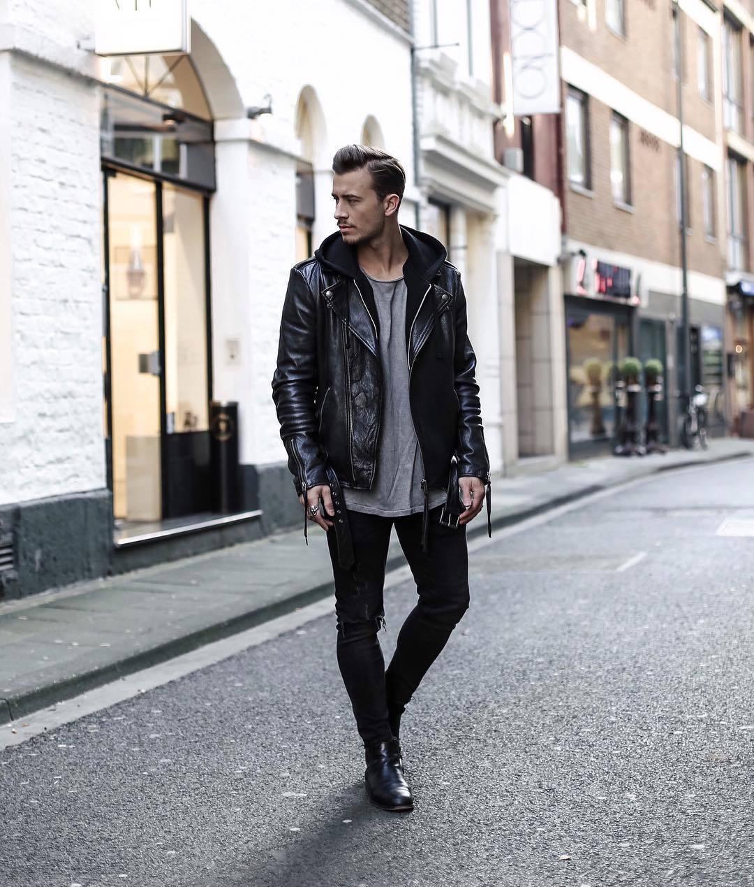 6f13265b Men's Black Leather Biker Jacket, Grey Crew-neck T-shirt, Black ...