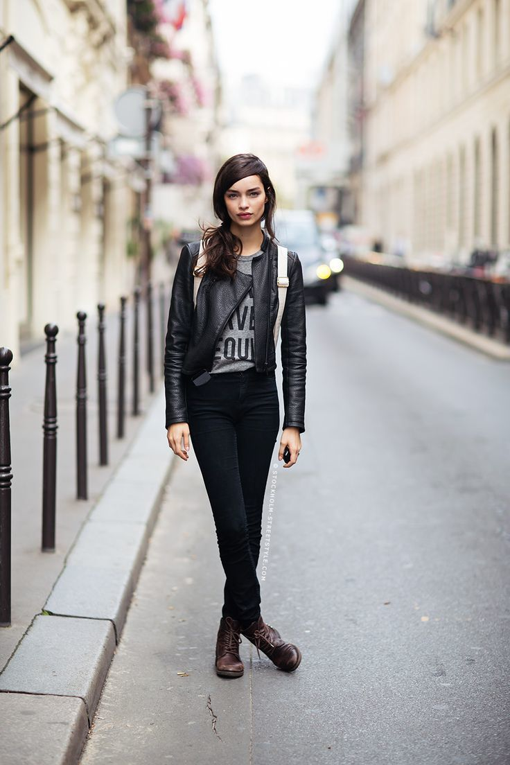 How To Wear Black Skinny Jeans With Dark Brown Leather Boots