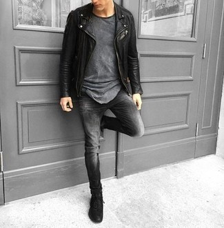 Charcoal Jeans Outfits For Men: Display your chops in men's fashion by opting for this casual combination of a black leather biker jacket and charcoal jeans. For something more on the cool and laid-back end to round off your outfit, add a pair of black athletic shoes to your ensemble.