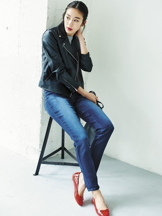 How to wear: black leather biker jacket, grey short sleeve sweater, blue jeans, red leather ballerina shoes