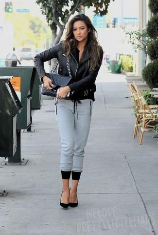 Black biker jacket grey sweatpants black pumps black crossbody bag large 5547
