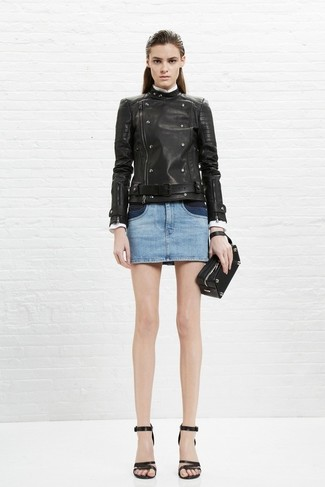How to wear: black leather biker jacket, light blue denim mini skirt, black leather heeled sandals, black leather clutch