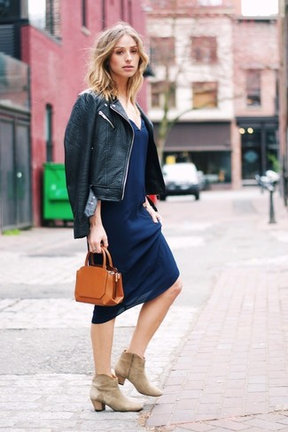 How to wear: black leather biker jacket, navy cami dress, beige suede ankle boots, tobacco leather clutch