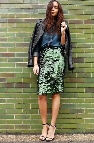A black leather motorcycle jacket with an olive green pencil skirt has become an essential combination for many style-conscious girls. Elevate your getup with black leather heeled sandals.