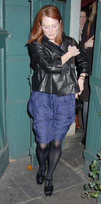 Julianne Moore wearing Black Leather Biker Jacket, Navy Print Midi Dress, Black Leather Heeled Sandals, Black Tights