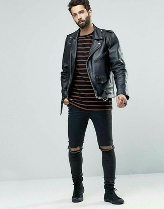 Try pairing a Paul Smith Ps Leather Biker Jacket with black ripped skinny jeans for comfortdressing from head to toe. A pair of black suede high top sneakers will add more polish to your overall look. As the temps lower, you'll discover that an outfit like this is great for this time.