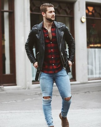How to wear: black leather biker jacket, red and black gingham long sleeve shirt, light blue ripped skinny jeans, brown suede chelsea boots