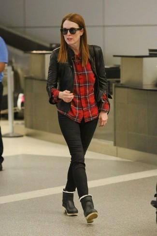 Julianne Moore wearing Black Leather Biker Jacket, Red Check Dress Shirt, Black Jeans, Black Leather Ankle Boots