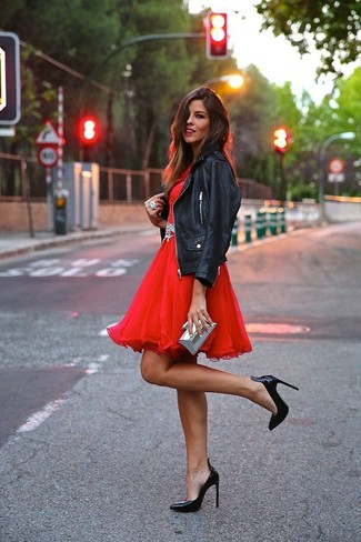 Women's Black Leather Biker Jacket, Red Tulle Fit and Flare Dress, Black Leather Pumps, Silver Clutch