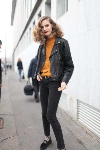 How to wear: black leather biker jacket, tobacco turtleneck, black skinny jeans, black suede loafers
