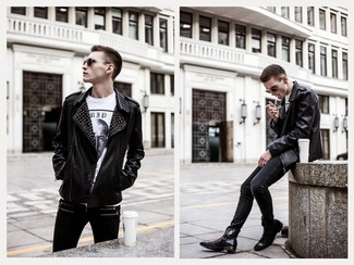 Men's Black Embellished Leather Biker Jacket, White and Black ...