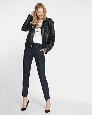 Women's Black Leather Biker Jacket, White and Black Print Crew-neck T-shirt, Black Plaid Skinny Pants, Black Suede Pumps