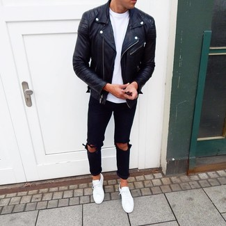 How to wear: black leather biker jacket, white crew-neck t-shirt, black ripped jeans, white low top sneakers