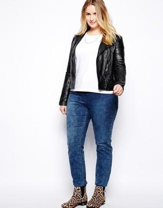 How to wear: black leather biker jacket, white crew-neck t-shirt, blue acid wash jeans, tan leopard suede ankle boots