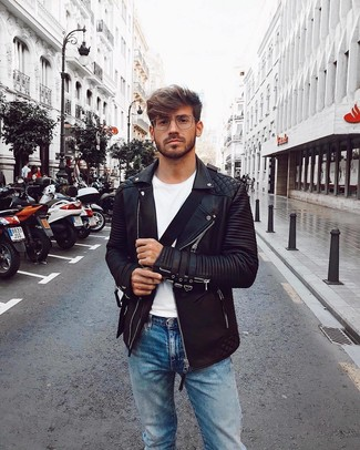 How to wear: black leather biker jacket, white crew-neck t-shirt, light blue jeans, black canvas messenger bag