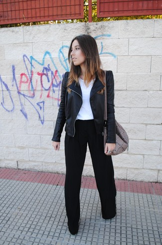 Stand out among other stylish civilians in a black leather biker jacket and black wide leg pants.