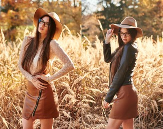 How to wear: black leather biker jacket, white lace long sleeve t-shirt, brown leather mini skirt, khaki wool hat
