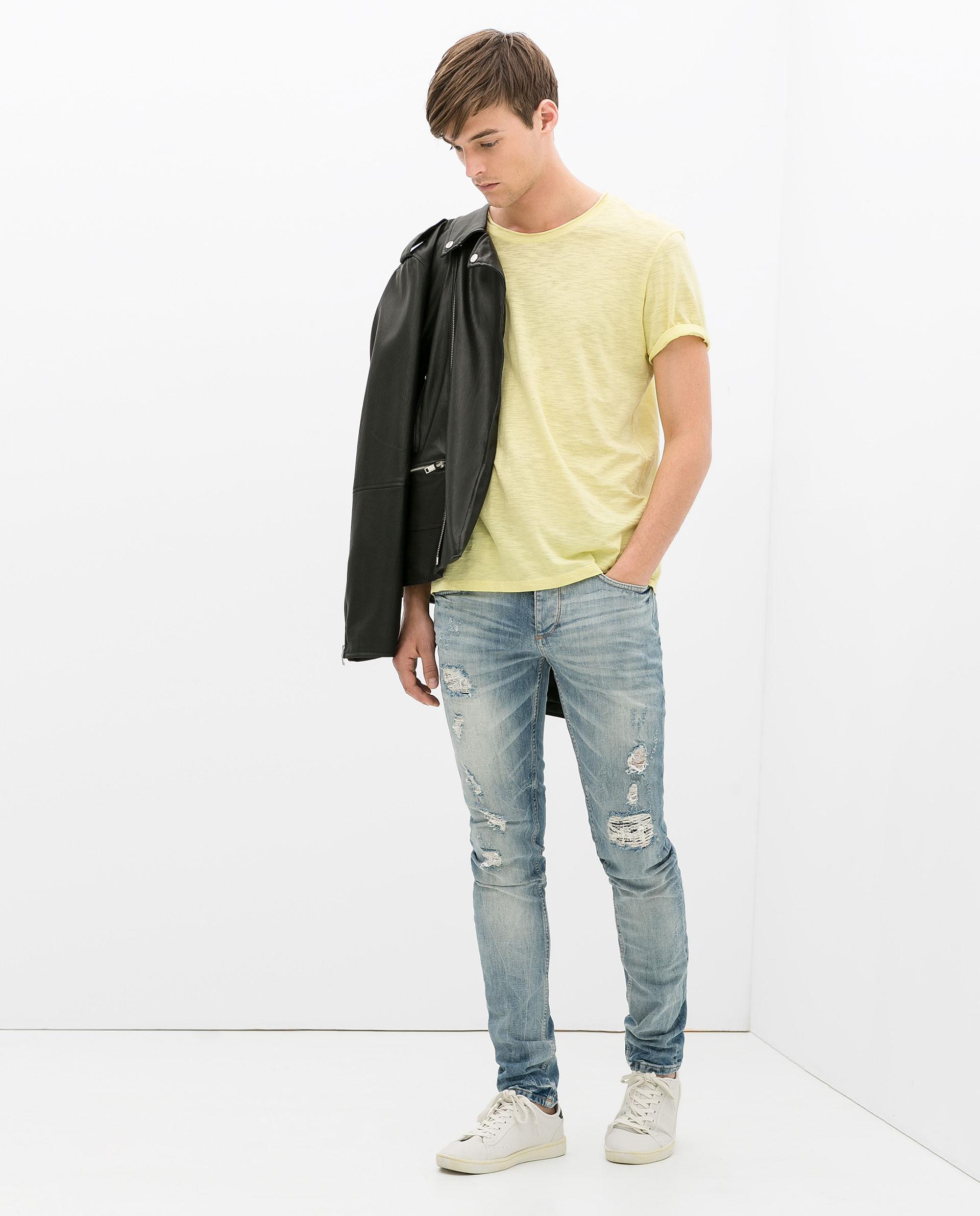 Black t shirt and blue jeans - Black T Shirt Light Blue Jeans Men S Black Leather Biker Jacket Yellow Crew Neck