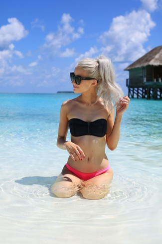 How to wear: black bikini top, hot pink bikini pant, black sunglasses