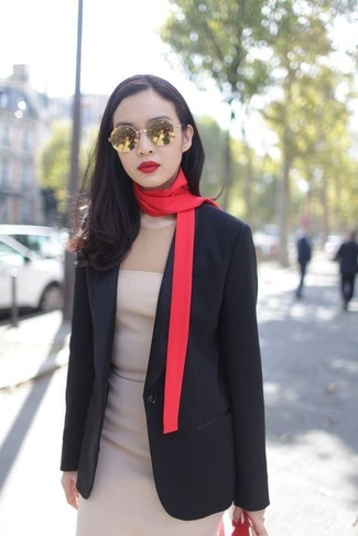 How to wear: black blazer, beige sheath dress, red scarf, gold sunglasses