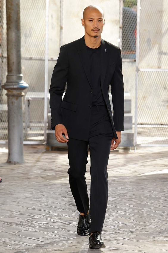 Men's Black Blazer, Black Crew-neck T-shirt, Black Dress Pants ...