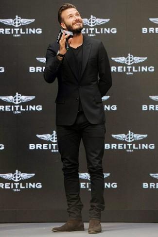 David Beckham wearing Black Blazer, Black Crew-neck T-shirt, Black Jeans, Dark Brown Suede Chelsea Boots