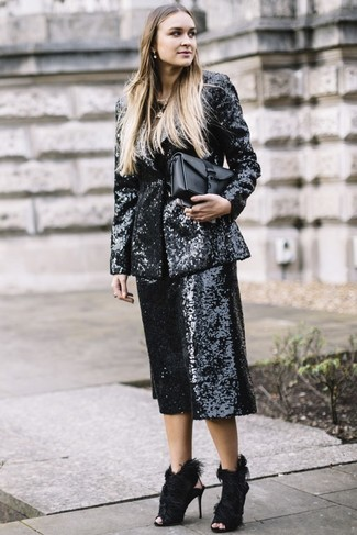 How to Wear a Black and White Sequin Blazer For Women: Display your expert styling in this casual combination of a black and white sequin blazer and black sequin culottes. For something more on the dressier side to finish your look, introduce a pair of black fur heeled sandals to the equation.