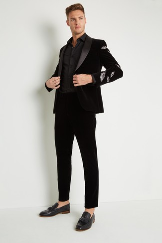 How to wear: black velvet blazer, black dress shirt, black velvet dress pants, black velvet tassel loafers