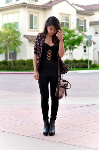 Women's Black Floral Blazer, Black Jumpsuit, Black Leather Ankle Boots, Brown Leather Crossbody Bag
